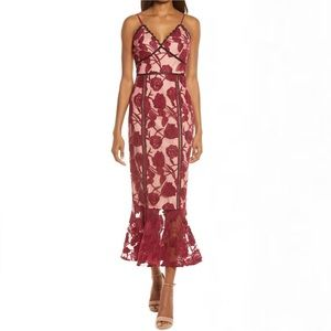Lulu's Alluring Dream Burgundy Floral Mesh Lace Trumpet Midi Dress Large